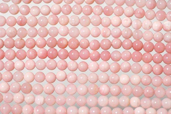 ピンクコモンオパールA+丸玉ビーズ
